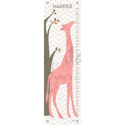 Modern Giraffe Children's Pink Growth Chart