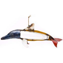Recycled Bottle Dolphin Hanging Garden Sculpture
