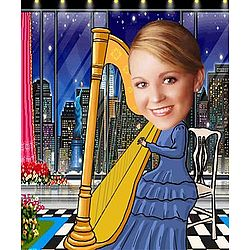 Your Photo in a Harp Player Caricature