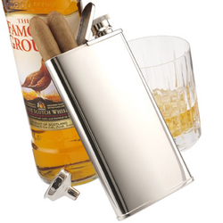 Personalized Chrome Plated Flask with Cigar Holder