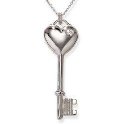 CZ Puffy Heart Key Necklace in Sterling Silver