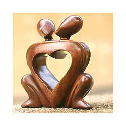 One Heart Wood Statuette