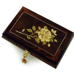 Single Stem White Rose Music Box