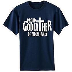 Personalized Proud Godfather Navy T-Shirt