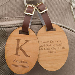 Personalized Classic Monogram Wood Luggage Tag