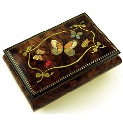 Graceful Butterflies Wood Music Box