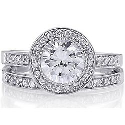 Sterling Silver Round Cubic Zirconia Bridal Ring Set