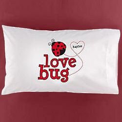 Personalized Hearts Love Bug Pillowcase