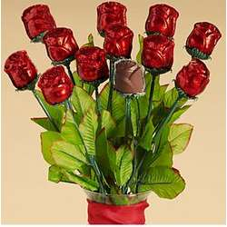 One Dozen Chocolate Roses