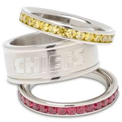 Kansas City Chiefs Stainless Steel and Crystal Stacked Ring
