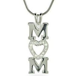 Sterling Silver Cubic Zirconia Mom Charm Necklace