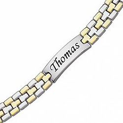 Personalized Two-Tone Stainless Steel Engraved ID Bracelet