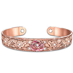 Engraved Copper Women's Cuff Bracelet with 18K Rose Gold Plating