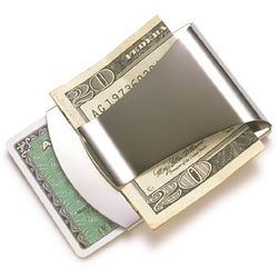 Personalized Silver Money Clip / Credit Card Holder