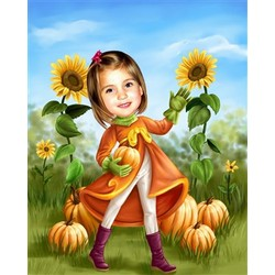 Pumpkin Patch Personalized Caricature
