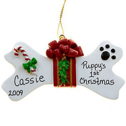 Personalized Bone Bow Puppy's 1st Christmas Ornament