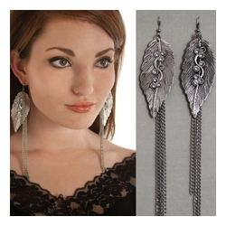 Natural Charm Jeweled Leaves Metal Dangle Earrings