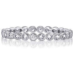 Sterling Silver Round Bezel Cubic Zirconia Eternity Ring