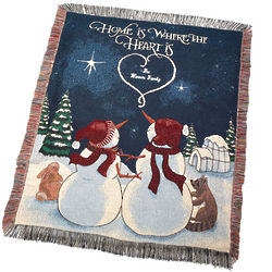 Personalized Woven Snowman Throw