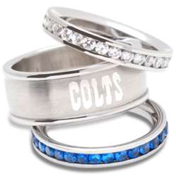 Indianapolis Colts Stainless Steel and Crystal Stacked Ring