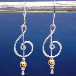 Sterling Silver 2-Tone Treble Clef Earrings