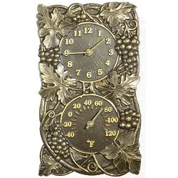 Grapevine Indoor/Outdoor Thermometer Wall Clock