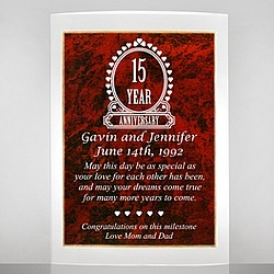 Ruby Acrylic 15th Anniversary Plaque