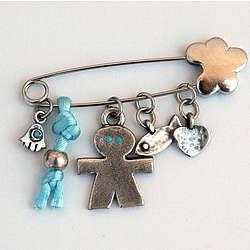 Blue Baby Pin with Hamsa Charm
