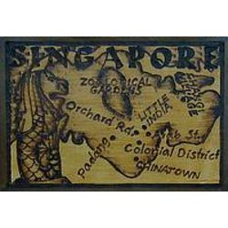 Singapore Map Leather Photo Album in Natural