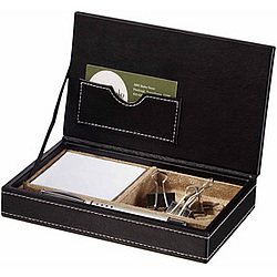 Leather Memo and Business Card Desktop Organizer