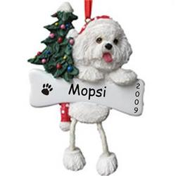 Personalized Bichon Frise Bone and Tree Ornament