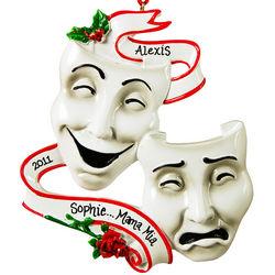 Comedy Tragedy Theatre Masks Personalized Drama Ornament