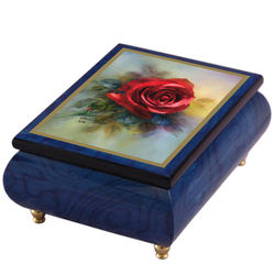 "Italian Music Box ""True Love"" Red Rose"