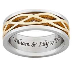 Men's Titanium Two-Tone Engraved Celtic Weave Band