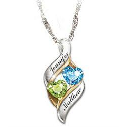 Personalized Loving Embrace Birthstone Necklace