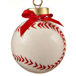 Baseball With Red Laces Christmas Ornament
