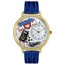 Soccer Mom Personalized Watch with Royal Blue Leather Band