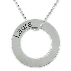 Engraved Silver Disc Ring Necklace