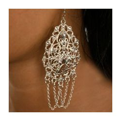 Victorian Inspired Jeweled Filigree Fashion Earrings