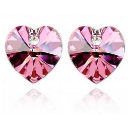 Rose Red Swarovski Crystal Heart 18K Gold Plated Stud Earrings
