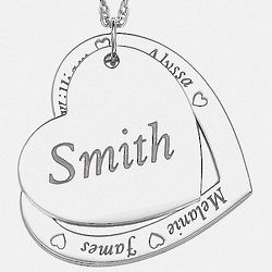 Personalized Sterling Silver Family Name Layered Hearts Necklace