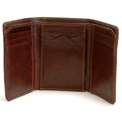 Brown Leather Tri-Fold Wallet with ID Window