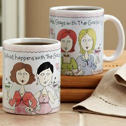 Personalized What Happens with the Girls 11 Oz Mug