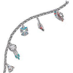 Sacred Spirits Sterling and Turquoise Enamel Charm Bracelet