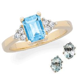 Emerald-Cut Blue Topaz and Crystal Ring with Earrings