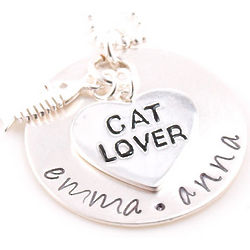 Personalized Cat Lover Hand-Stamped Necklace