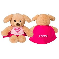 Personalized Supergirl Plush Dog with Embroidered Cape