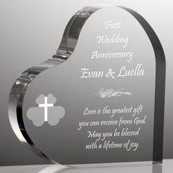 Religious Heart Anniversary Plaque