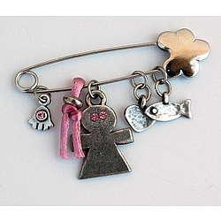 Pink Baby Pin with Hamsa Charm