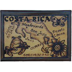Costa Rica Map Leather Photo Album in Natural